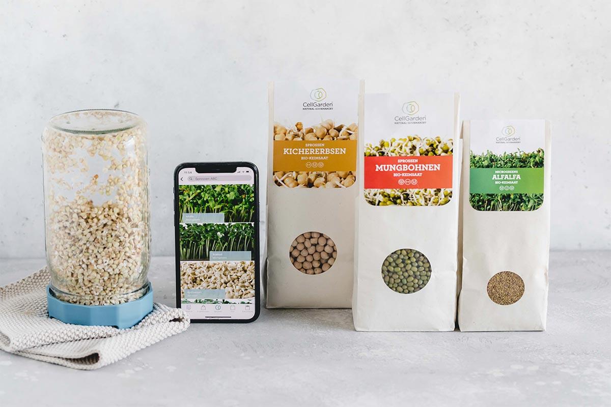 Sprossen Set mit Bio Saatgut von Cell Garden