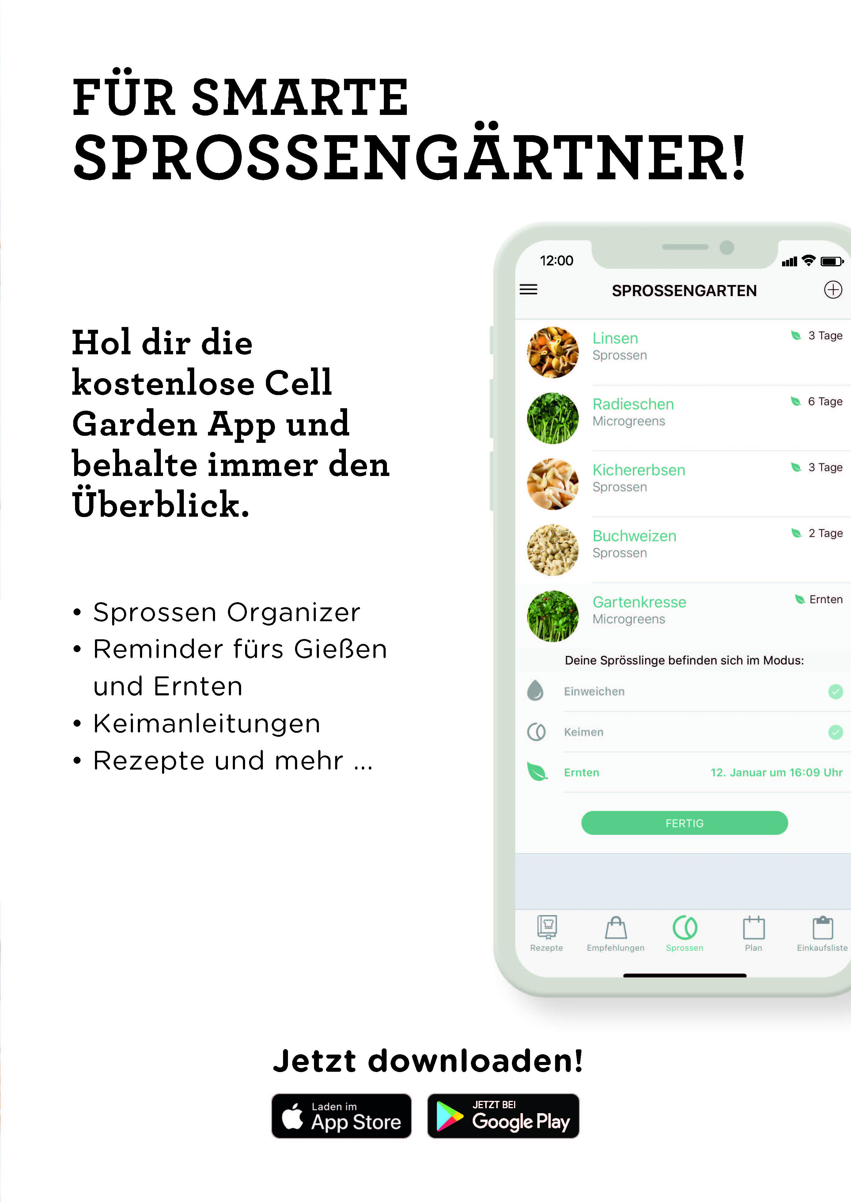 App zum Sprossen selber ziehen von Cell Garden