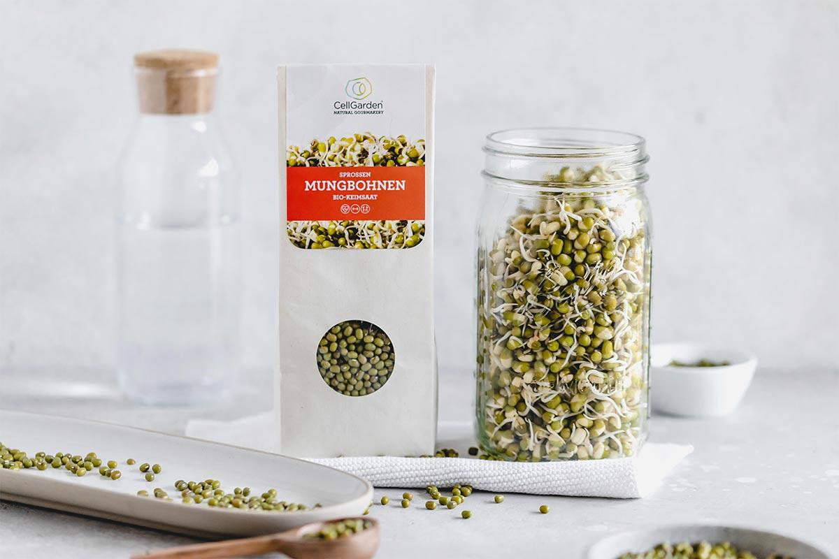Keimglas  für die Sprossenzucht mit Mungbohnen Samen