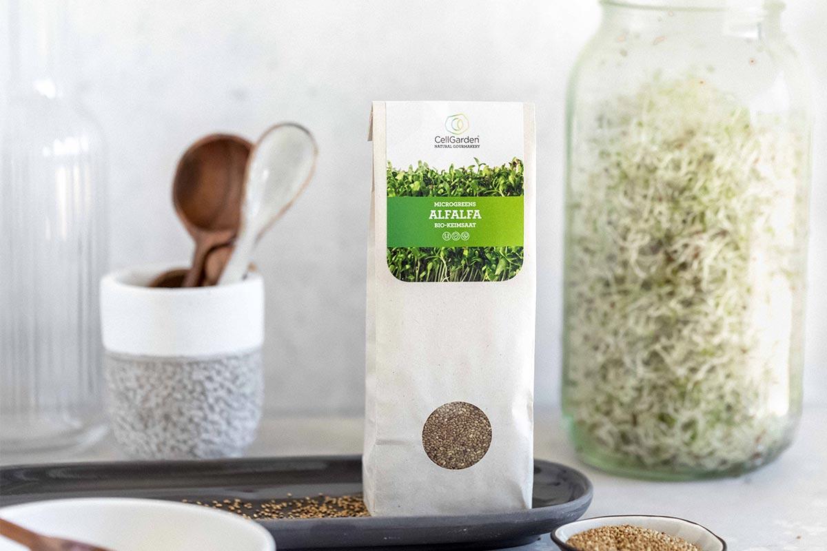 Alfalfasprossen in 250 g Papierbeutel zum Sprossen züchten