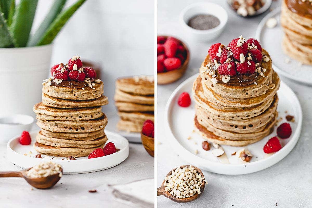 Pancakes aus gekeimten Buchweizen Sprossen und Nackthafer Sprossen