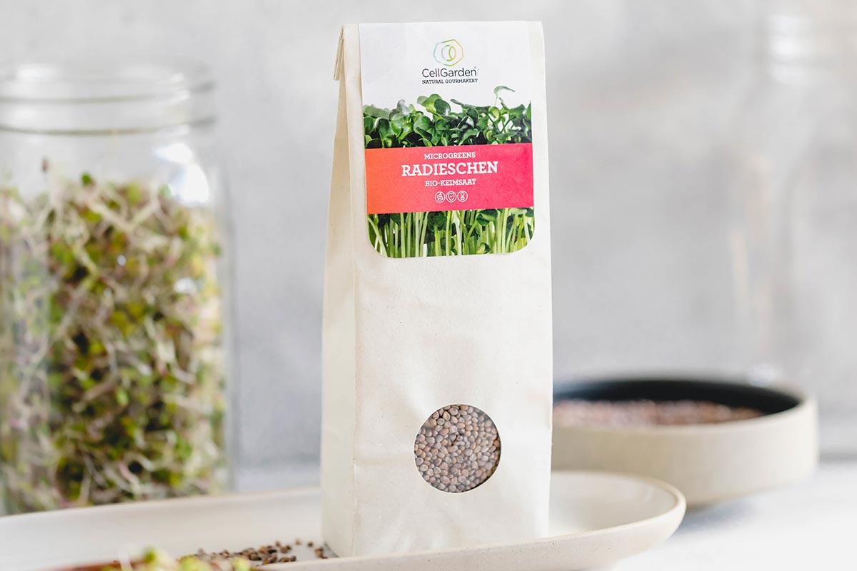 Radieschen Samen in 250 g Papierbeutel zum Sprossen züchten