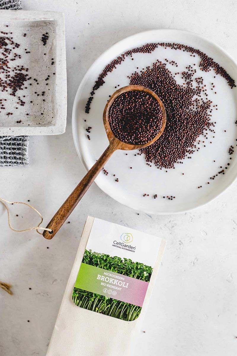 Brokkoli Samen in einer Schale und Papierbeutel